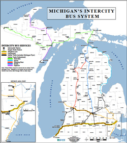 Michigan's Intercity Bus System as of Dec. 2009