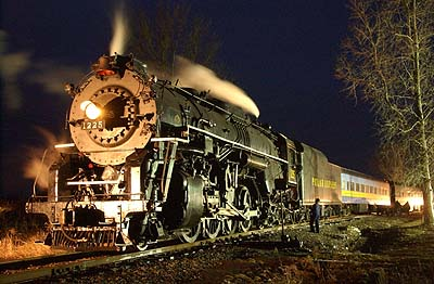 The Pere Marquette 1225 locomotive, pictured on an excursion trip near the  Saginaw County Fairgrounds
