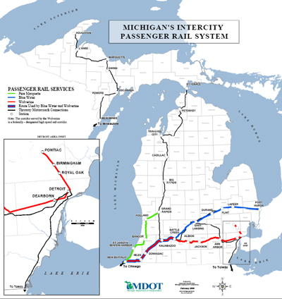 michigan amtrak and thruway coach routes click on the map for a larger and printable pdf version 700k